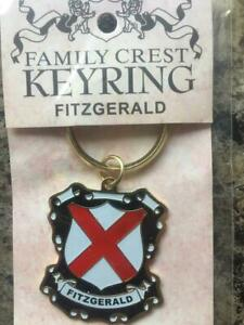 FITZGERALD Family KEYRING Coat of Arms - Heraldic Crest - Metal Key Chain