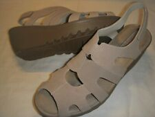 Skechers Stylin' Suede Leather Peep Toe Wedge Heel Sandals Womens 6.5 M Taupe +
