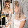 Ivory White Wedding Veils Shoulder Length Pearls Short With Comb Bridal Veil