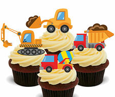 Diggers & Trucks Edible Cupcake Toppers - Stand-up Fairy Cake Decorations Boy