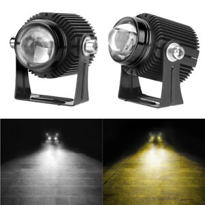 2x LED Spotlights Dual Color High Low Beam Auxiliary Lamps For Motorcycle Car