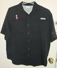 Columbia Tamiami II PFG Black Breast Cancer Short Sleeve Fishing Shirt Large