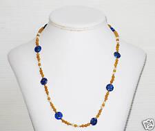 Yellow Jade & Blue Millefiori Bead Necklace