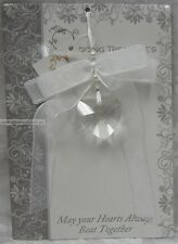 Wedding Treasure Favour Sparkling Acrylic Faceted Heart, Beads & White Ribbon