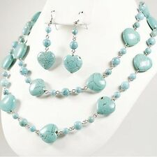 CHUNKY HEART TURQUOISE NECKLACE SET