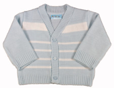 Baby Boy Cardigan V Neck Spanish Style Pequilino Striped Blue 6-9 Months