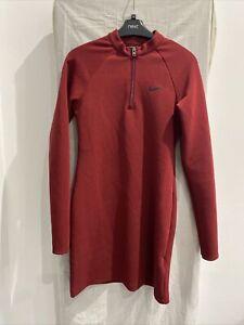 NIKE Burgandy Long Sleeve 1/4 Zip Dress Size UK S