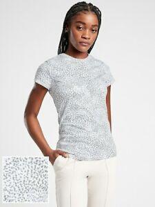 ATHLETA Organic Cotton Daily Tee White-Blue-Gray XL 16 New Retail $44