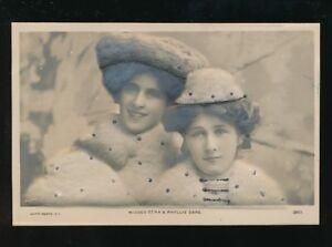 Theatre Misses Zena & Phyllis Dare Bas-Relief Glitter pre1919 heavy embossed PPC