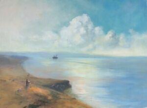 Pacific Ocean, Seascape oil Painting, Original, Handmade Artwork, Museum quality