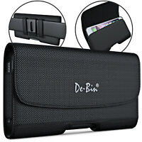 De-Bin Nylon iPhone 12 Pro Max/ 11 Pro Max Phone Holster w/ Belt Clip Black Case