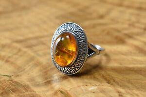 Sterling Silver Baltic Amber Statement Ring Size S Gdansk 925 Polish Hallmark