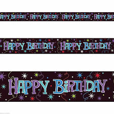 """12ft x 5"""" Happy Birthday Party Black Foil Banner Decoration"""