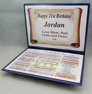 SPECIAL 21ST BIRTHDAY GIFT - THE DAY YOU WERE BORN KEEPSAKE