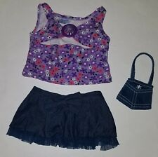 Build Bear Plush Clothing 3-Pc Outfit Purple Floral Tank Blue Denim Skirt Purse