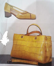 scarpe donna decoltè vera pelle colore senape n.35+borsa analoga pelle becatò