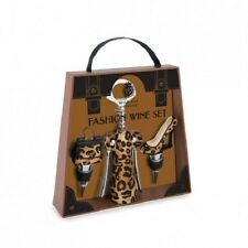 Fashion Wine Leopard Set - Corkscrew and 2 Bottle Stoppers