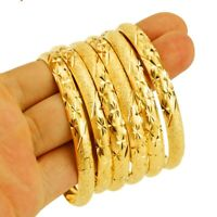 6 Set 8MM Dubai Gold Colour Bangles Women Men Ethiopian African Ethnic Bracelets