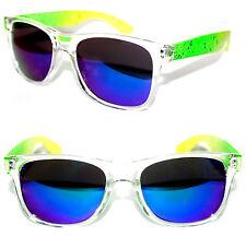 Men's Women's Horn Rimmed Sunglasses Neon Green Yellow Frame Blue Mirror Retro