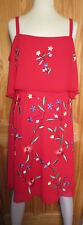 NWT Very womens beautiful red floral embroidered cold shoulder frill dress, 16