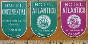 Madrid - Espana / Spain THREE Hotel Luggage Labels - 2