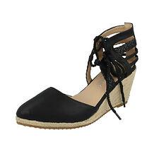 "Ladies Anne Michelle Tie up Pointed Wedge Sandals 3"" Heel in 3 Colours F9885 Black UK 7"