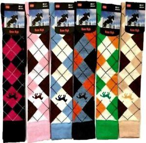 6 Pairs Women's Argyle Design riding Causal  Long Ladies Knee high Socks 4-7