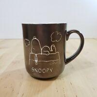 Vintage Peanuts Snoopy Coffee Mug Metallic Brown Tea Cup