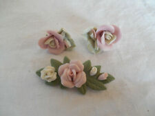 matching clip on earrings Bisque porcelain rose brooch &
