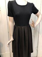 LuLaRoe ELEGANT AMELIA DRESS LARGE BLACK COPPER BRONZE