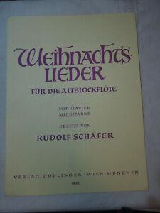 Noten Weihnachtslieder f. Altblockflöte m. Klavier / Gitarre Arr. Rudolf Schäfer