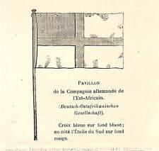 """"""" DEUTSCH OSTAFRIKANISSCHEN AG """" FLAG PETITE GRAVURE SMALL ENGRAVING 1890"""