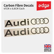 2 X Audi Rings CARBON FIBRE TEXTURE VINYL CAR DECALS STICKERS