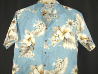Pacific Legend Light Blue Hibiscus Flowers Floral Hawaiian Camp Aloha Shirt Sz M
