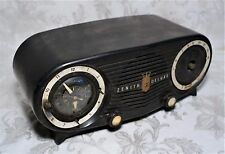 Vintage 1950s Zenith Deluxe Owl Eye Alarm Clock Tube Radio Bakelite Parts Repair