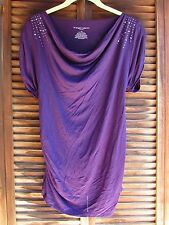 Liz Lange Maternity Purple Women's Knit Top Misses XS + Embellished Cowl Ruched