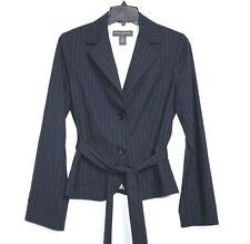 Banana Republic - 6 (S) - Tonal Blue Pin Striped Wool Blend Belted Blazer Jacket