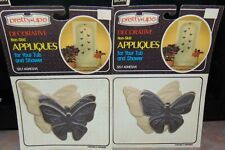 Lot of 2 Vintage Tub Safety Decorative Appliques Pretty Ups Brown Butterflies