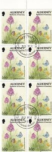ALDERNEY 1998 BOOKLET PANE - COMMON BLUE BUTTERFLY 16p x 8 STAMPS USED
