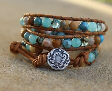 Ocean Jasper Multi Gemstone Beaded 3X Wrap Bracelet Brown leather Bracelet