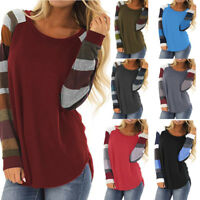 Women Casual Color Block Long Sleeve Pullover Tops Loose Tunic Sweatshirt Blouse