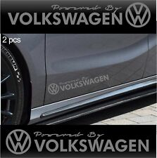 2 pcs POWERED BY VOLKSWAGEN Stickers Decals Golf GTI Jetta Passat SILVER