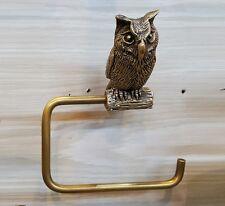 Brass Tissue Paper Holder OWL2 Toilet Bird Hanging Wall Mount Vintage Home Decor