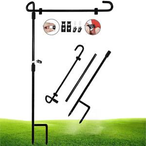 "Garden Flag Holder Stand Garden Flag Pole Black Wrought Iron For Yard 15"" NEW"