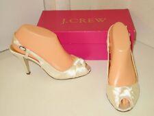 J. Crew Martine Satin Ivory White Wedding Bridal Slingback Heel Shoes Womens 5.5