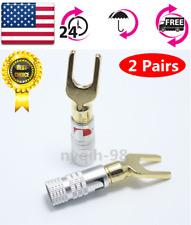 US 4x Nakamichi Y U Type Brass Speaker Plugs Audio Screw Fork Spade Connector