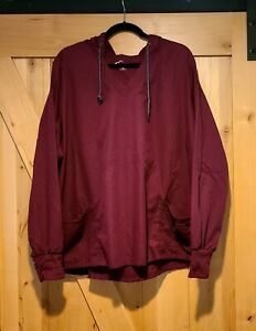 Butter Soft Woman's 2XL Hooded Scub Top Wine Maroon Red. Front Pockets