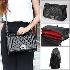 caf5a83e5278 NEW Women Quilted Leather Shoulder Messenger Chain handbag black fashion Bag  UK