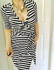 BANANA REPUBLIC WOMENS DRESS STRIPED BLACK WHITE WRAP RAYON ELASTANE SZ S