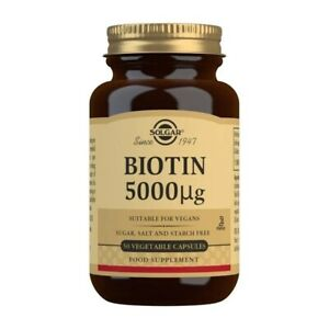 Solgar Biotine 5,000mcg 50 Végétarien Capsules, Fort Sain Cheveux Peau et Ongles